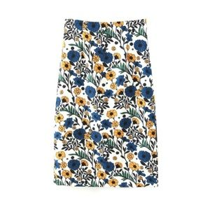 Zara Floral Blue Yellow Pencil Skirt Size Small